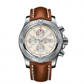 Super Avenger Automatic Chronograph with cream dial and brown strap