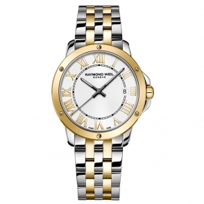 Tango gents steel and yellow gold PVD quartz bracelet watch with white dial/Roman numerals - 5391-STP000308