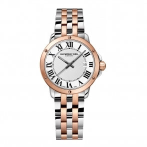 Tango ladies quartz watch steel/rose gold PVD watch with Roman numeral dial - 5391-SP5000300