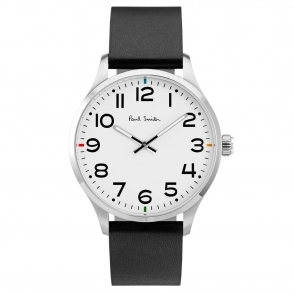 Tempo Watch with White Dial/Arabic Numbers & Black Leather Strap