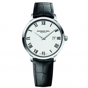 Toccata Gents Quartz Watch. Stainless steel case with white dial and black leather strap