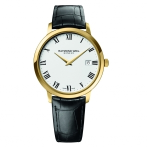 Toccata Gents Yellow Gold PVD Quartz Watch with White Dial and Roman Numerals on Black Leather Strap