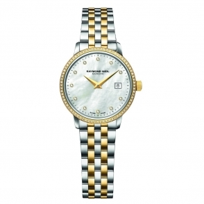 Toccata Ladies steel and Yellow Gold PVD Quartz Watch. Mother-of-Pearl Dial with Diamonds