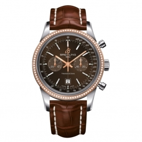 Transocean Chronograph with rose gold diamond set bezel.
