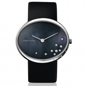 Vivianna 422 Oval Ladies Quartz Watch with black Mother-of-Pearl Dial scattered with 12 diamonds