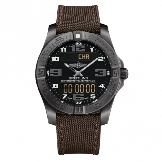 Professional Aerospace Evo Night Mission Black Titanium case with Brown Miltary Strap -  V7936310