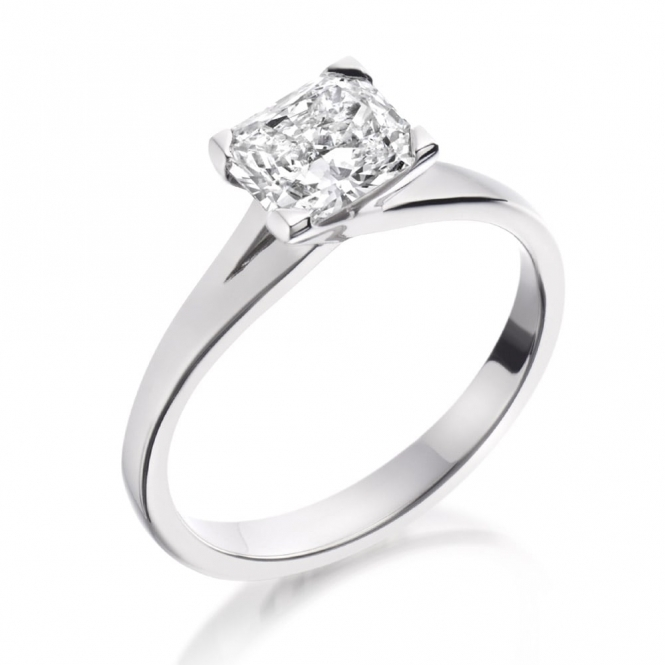 Radiant Cut Diamond Crossover Solitaire Ring