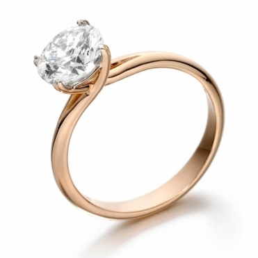Rose Gold Crossover Diamond Engagement Ring