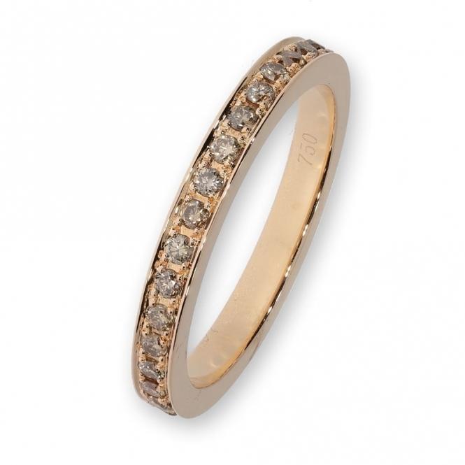 Rose gold full eternity set with cognac diamonds