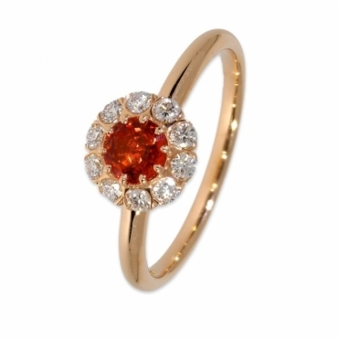 Rose gold orange sapphire & diamond halo ring