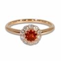 Rose gold orange sapphire & diamond halo ring
