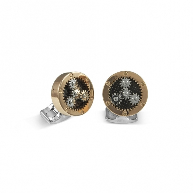 Rose Gold Plate Sun & Moon Cogs Cufflinks