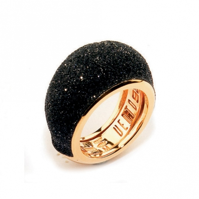 Rose Sterling Silver Polvere di Sogni Black Glitter Ring