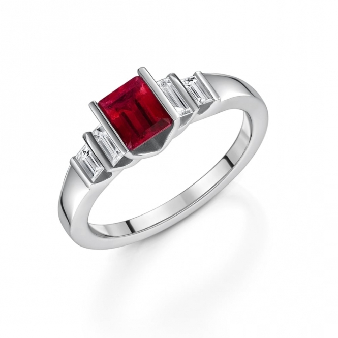 Ruby and Diamond Five Stone Ring