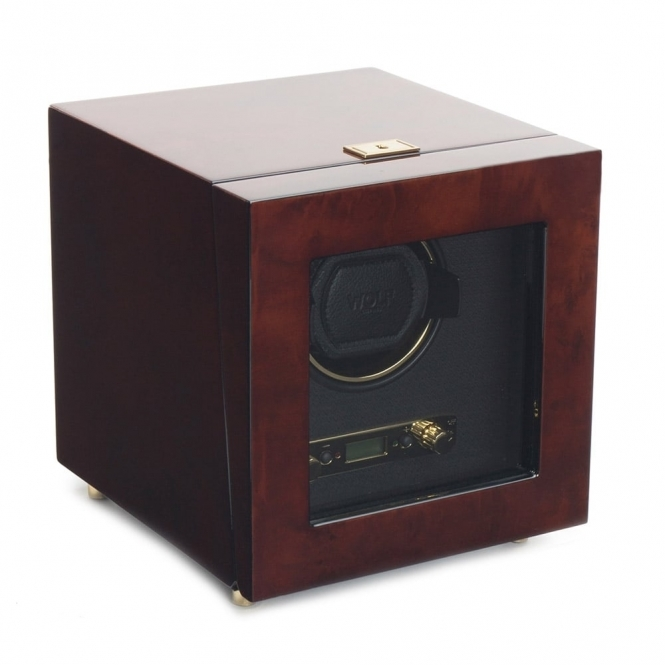 Savoy Single Watch Winder in Burl Wood and Brass