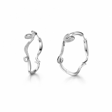 Serenity Small Hoop Earrings with CZ in Rhodium Finish