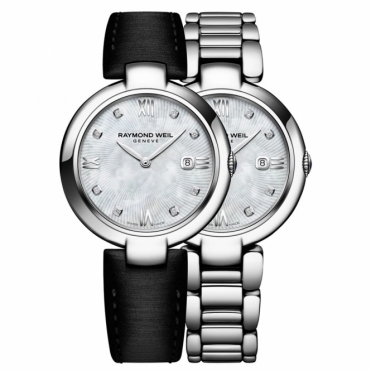 Shine Ladies Watch with patented interchangeable bracelet and black strap.