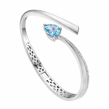 Shooting Star Blue Topaz Bangle in Brushed Rhodium Finish