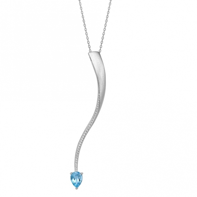 Shooting Star Blue Topaz Long Pendant in Brushed Rhodium Finish