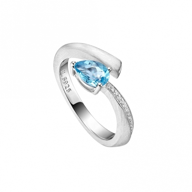 Shooting Star Blue Topaz Ring with CZ in Brushed Rhodium Finish