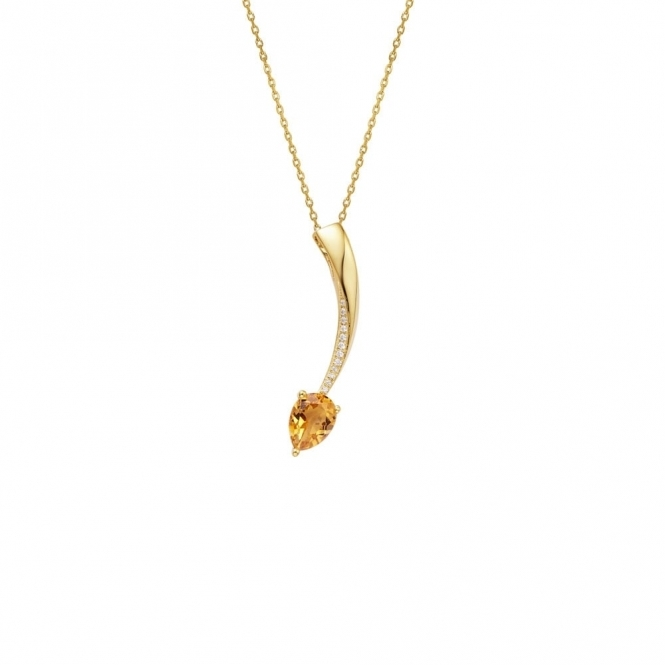 Shooting Star Citrine Short Pendant in Yellow Gold Finish