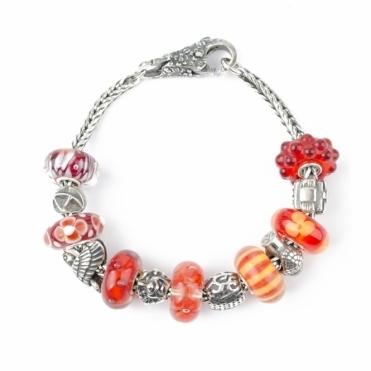 Silver 17cm Orange Trollbeads Bracelet RRP £395