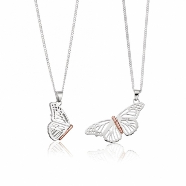 Silver & 9ct Gold Butterfly Locket (Small)