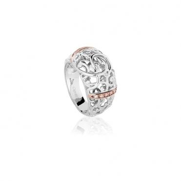Silver 9ct Gold & Diamond Am Byth Ring