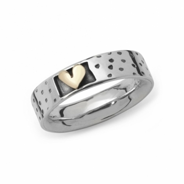 Silver & 9ct Gold Spots & Stripes Ring