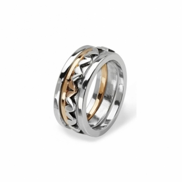Silver & 9ct Yellow Gold with Love Ring