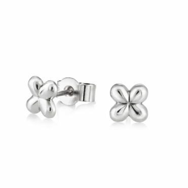 Silver Alban Clover Stud Earrings (Ex Small)