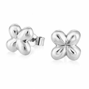 Silver Alban Clover Stud Earrings (Large)