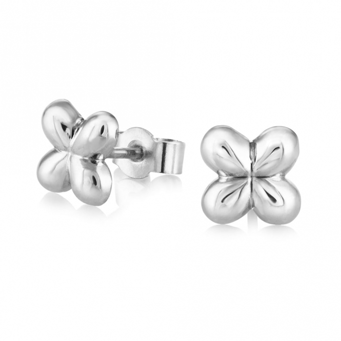 Silver Alban Clover Stud Earrings (Medium)
