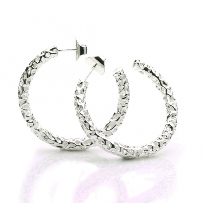 Silver Allegro Large Hoop Earrings