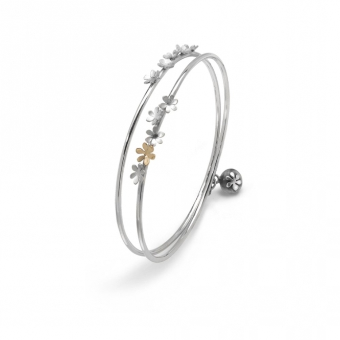 Silver and 9ct Yellow Gold Silver Bouquet Bracelet