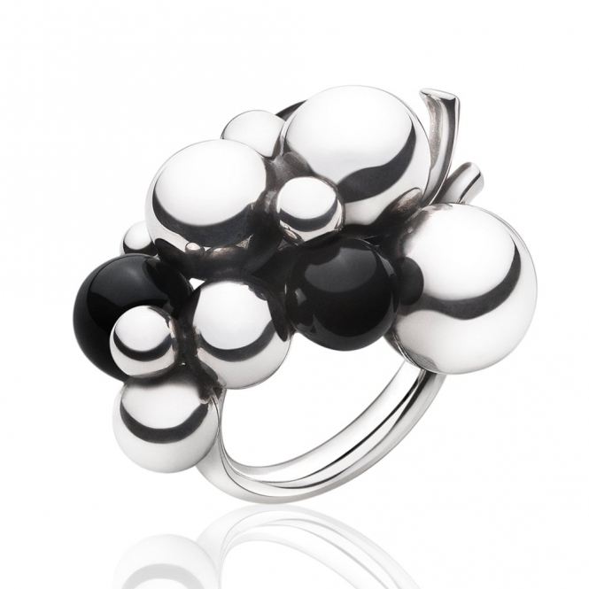 Silver and Black Agate Moonlight Grapes Ring
