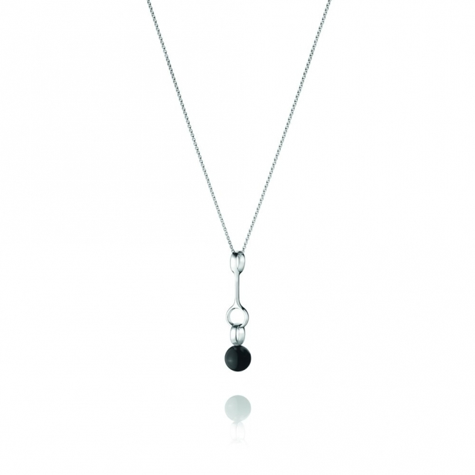 Silver & Black Agate Sphere Pendant