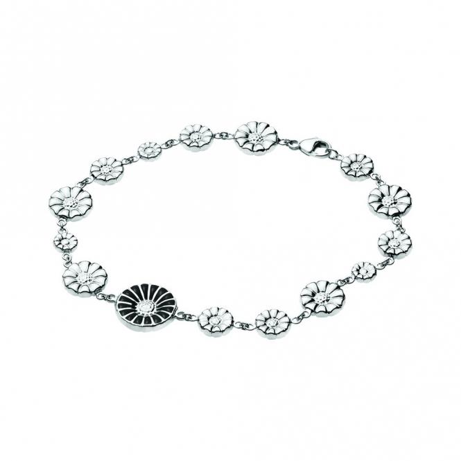 Silver Black Daisy Bracelet