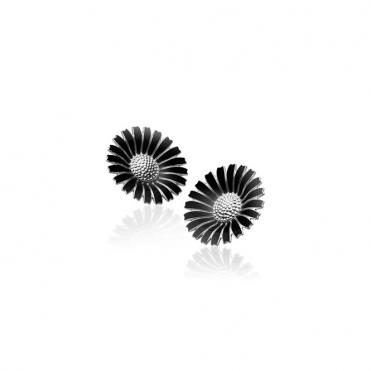 Silver Black Daisy Earclips 33mm