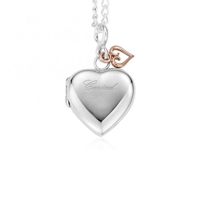 Silver Cariad Heart Locket Pendant