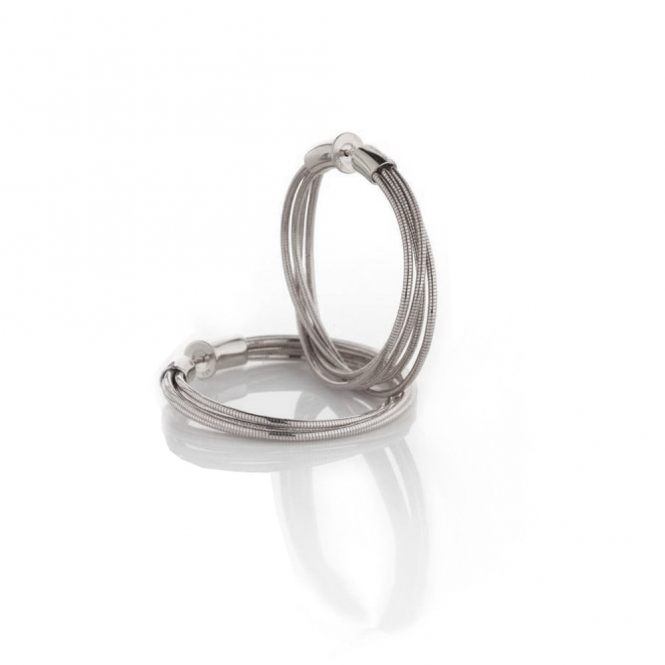 Silver DNA Spring Hoop Earrings