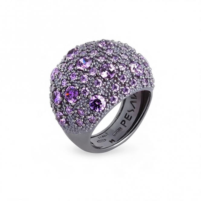 Silver Dust Purple Cubic Zirconia Ring