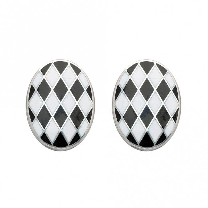 Silver Enamel Black White Cufflinks
