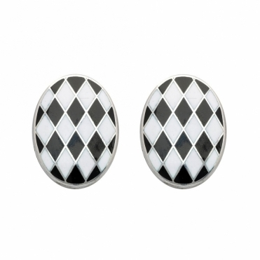 Silver Enamel Black White Cufflinks