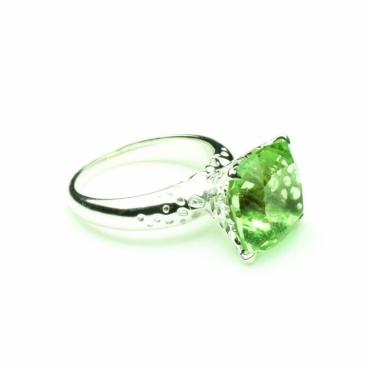 Silver & Green Amethyst Ring