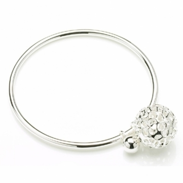 Silver Memento Globe Bangle