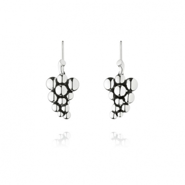Silver Moonlight Grapes Hook Earrings