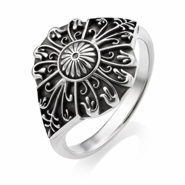 Silver Oxidised Alban Snowdrop Ring