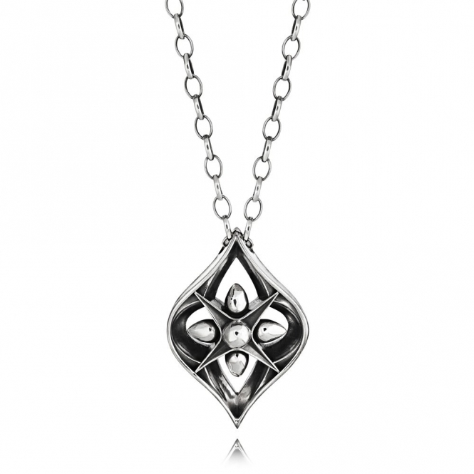 Silver Oxidised Alban Teardrop Pendant
