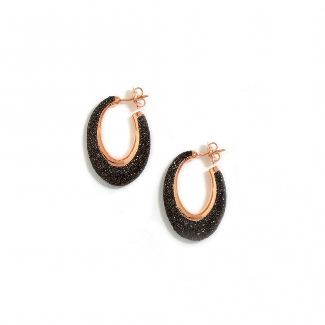 Silver & Pink Gold Polvere di Sogni Brown Glitter Earrings